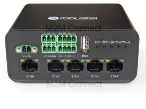 Image or Robustel R1520 Router with 4 LAN, Wi-Fi, Serial interfaces plus GPS receiver and analog plus digital General purpose input and outputs.