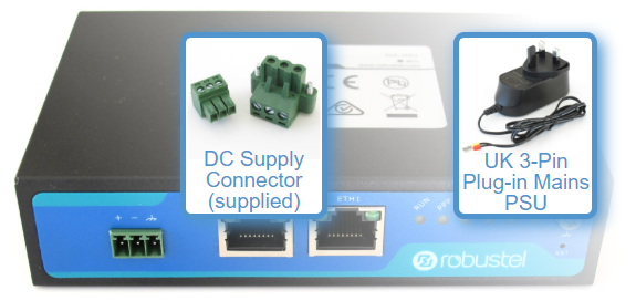 Imgae showing power supply options for Robustel Router Kits