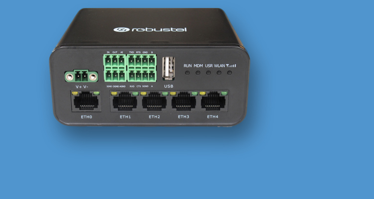 Image of the front panel of the new Robustel industrial-plus 4 port wireless router